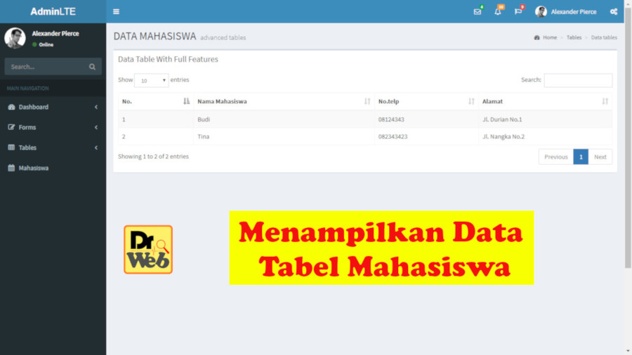 menampilkan data tabel mahasiswa dengan codeigniter